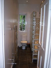 Bathroom with multi-jet, walk-in shower