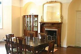 The dining room features lovely antiques