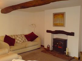 Living room with log effect stove
