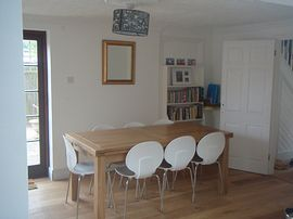 Our dining room with library and games
