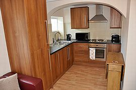 Kitchen, washer drier, electric hob